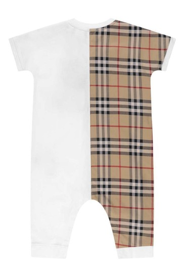 Baby White/Beige Check Cotton Shortie