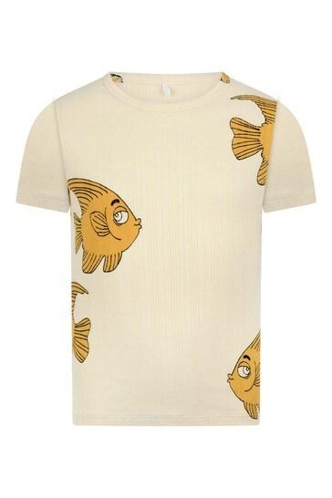 Kids Ivory Fish Print T-Shirt