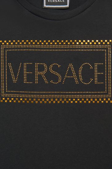 Girls Black Stud Logo T-Shirt