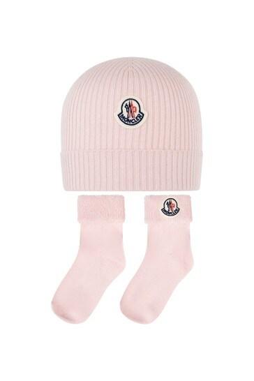 Girls Pink Cotton Hat And Socks Set