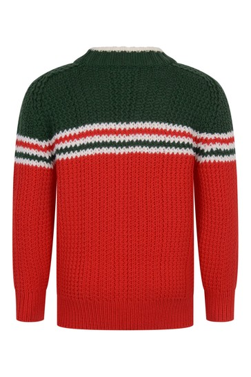 Boys Red Knitted Wool Jumper
