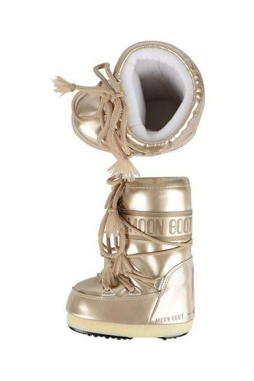 Girls Gold Vinyl Snow Boots