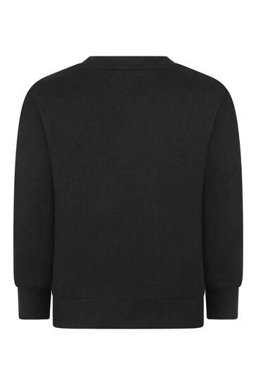 걸스 블랙 로고 코튼 스웨터