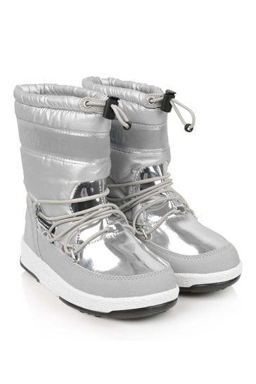 Girls Silver Waterproof Boots