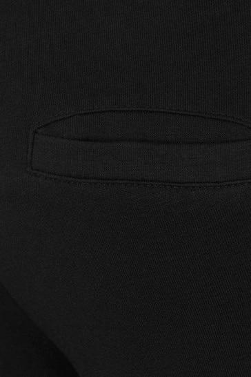 Girls Black Cotton Diamanté Logo Joggers