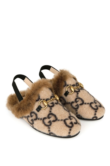 Kids Beige GG Wool Princetown Slippers With Faux Fur