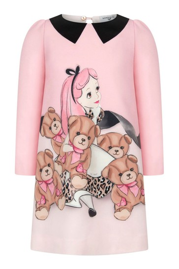Girls Ivory Bow & Bear Dress