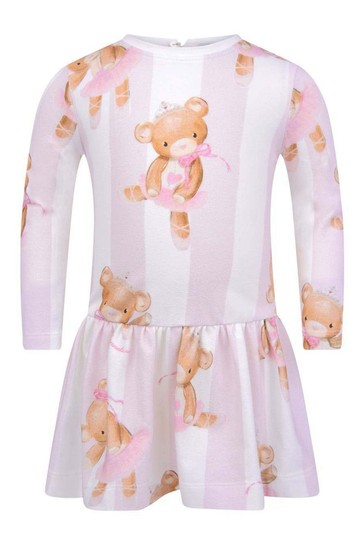 베이비 걸스 핑크 스트라이프 코튼 테디 드레스