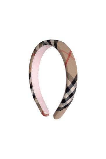 Girls Beige Archive Check Headband