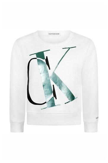 Girls White Cotton Logo Sweater