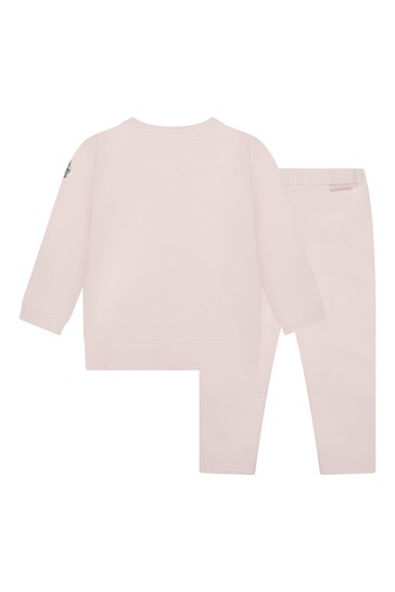 Baby Girls Light Pink Cotton Logo Tracksuit