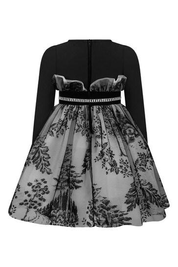 소녀 블랙 플로트 튤 드레스