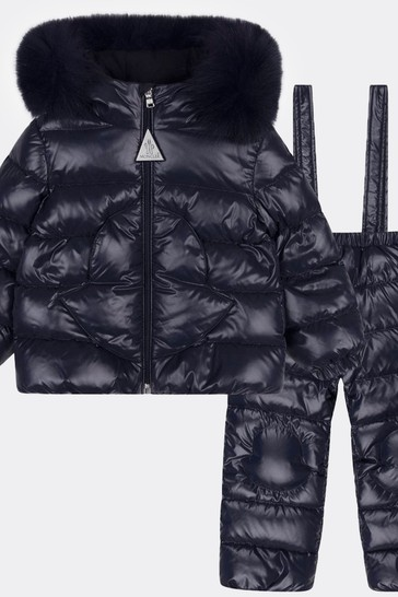 Baby Navy Blue Down Padded Snowsuit