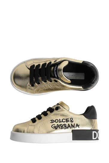 Girls Gold Leather Lace-Up Trainers