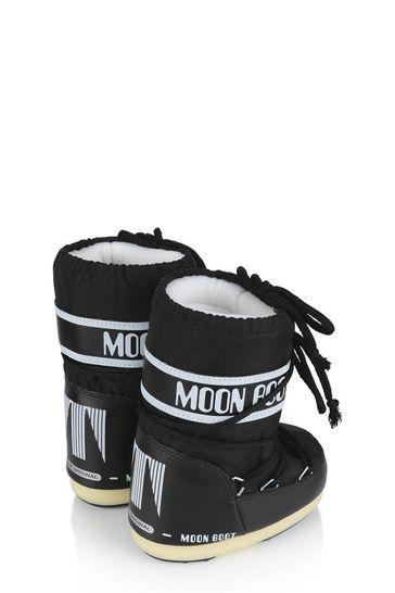 Kids Black Nylon Snow Boots