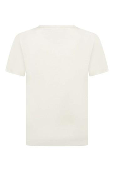 걸스 아이보리 코튼 로고 티셔츠