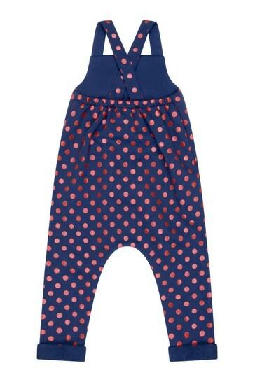 Baby Girls Navy Cotton Polka Dots Vintage Logo Dungarees