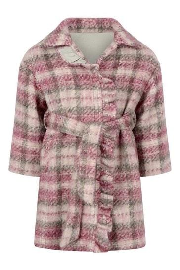 Girls Pink Check Wool Coat