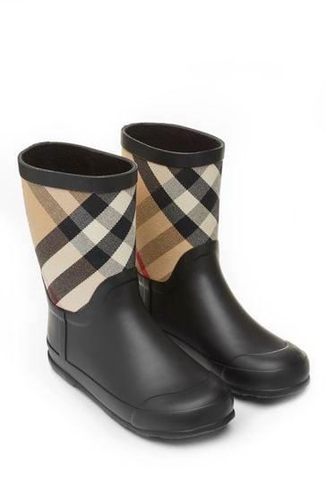 Kids Black And Vintage Check Rain Boots