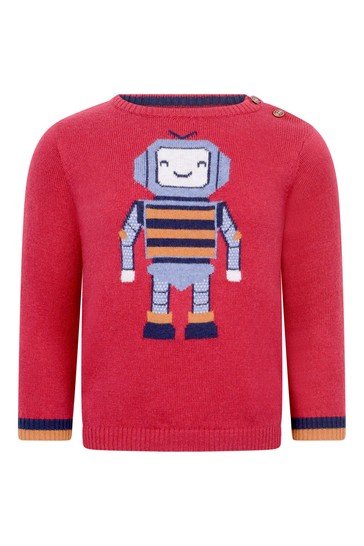 Baby Boys Red Cotton & Wool Robot Jumper