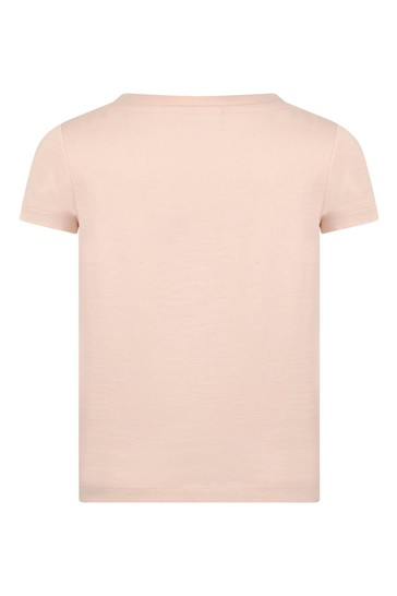 Girls Pink Organic Cotton Domino Effect T-Shirt