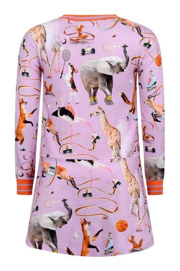 Girls Pink Organic Cotton Animals Dress