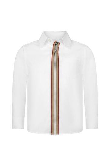 보이즈 화이트 코튼 셔츠