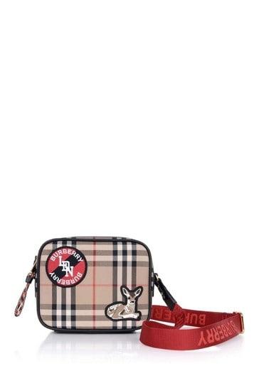 Girls Beige Vintage Check Deer Bag