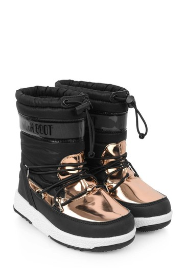 Girls Black And Copper Waterproof Boots