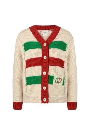 Girls White Wool Knitted Cardigan