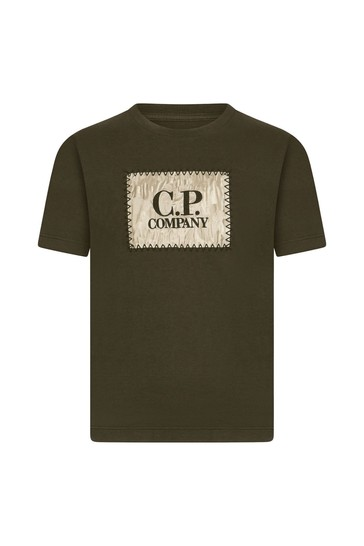 C.P. Company Boys Khaki Cotton T-Shirt