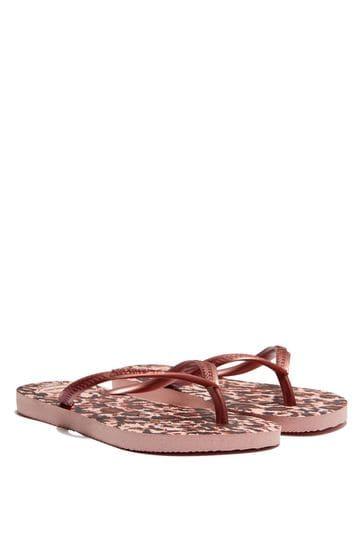 Girls Pink Leopard Print Flip Flops