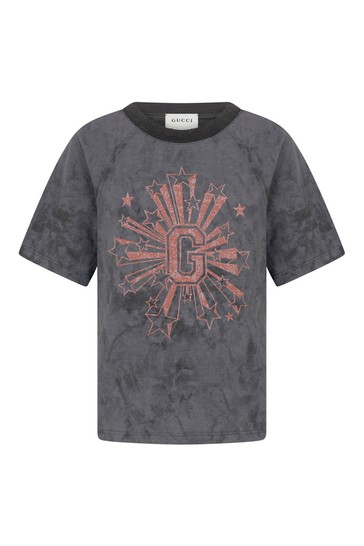 Boys Grey Cotton Print T-Shirt