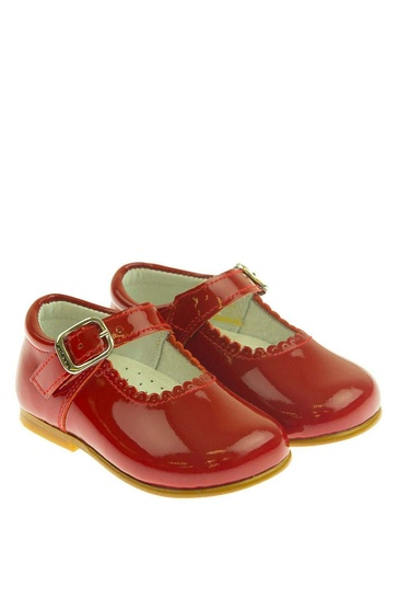 Andanines Red Patent Scalloped Edge Mary Jane Shoes