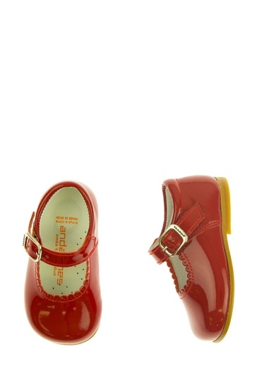 Red Patent Scalloped Edge Mary Jane Shoes
