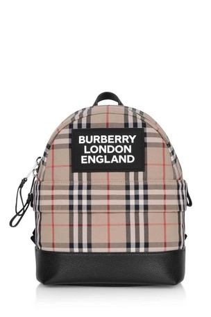 Kids Beige Vintage Check Cotton Backpack
