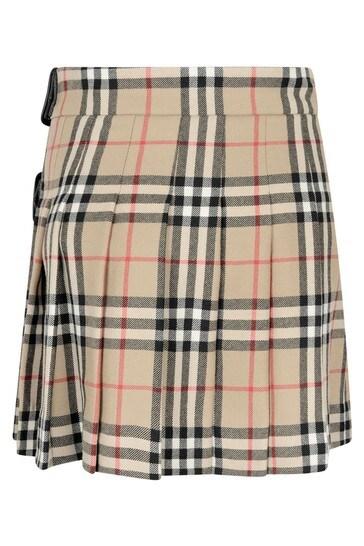 Girls Beige Check Wool Skirt