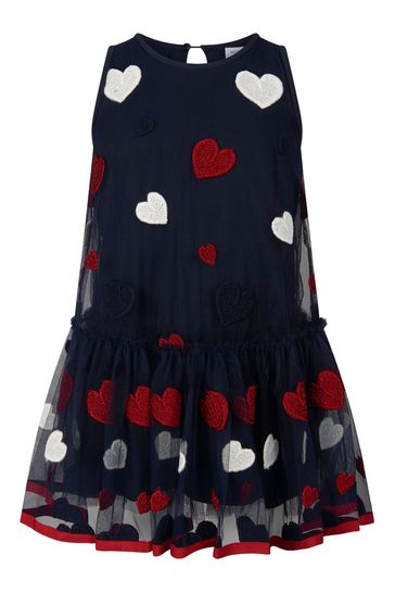 Girls Navy And Red Heart Tulle Dress