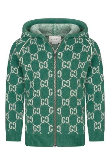 Baby Boys Green Wool Knitted GG Zip Up Cardigan | Childsplay