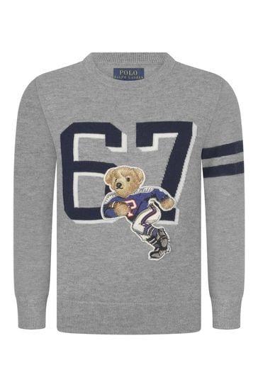Boys Grey Wool & Cotton Bear Sweater