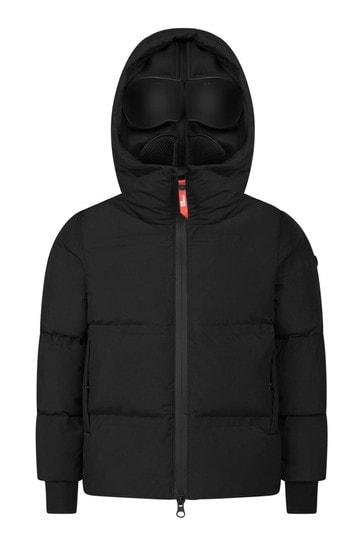 Boys Black Down Padded Jacket With Detachable Neoprene Mask