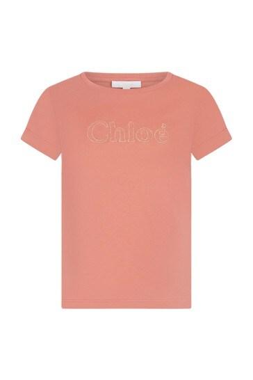 Girls Orange Cotton T-Shirt