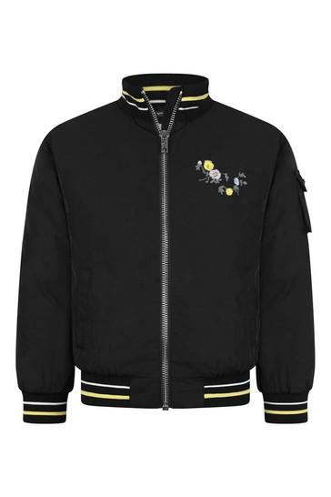 걸스 블랙 플로럴 로고 재킷