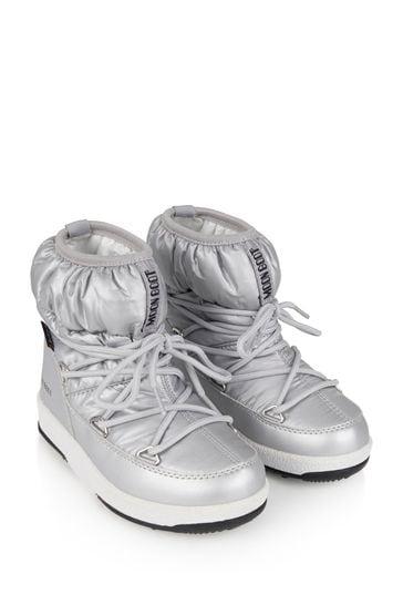 Girls Silver Nylon Snow Boots
