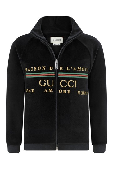 Kids Black Chenille Logo Embroidered Zip-Up Top