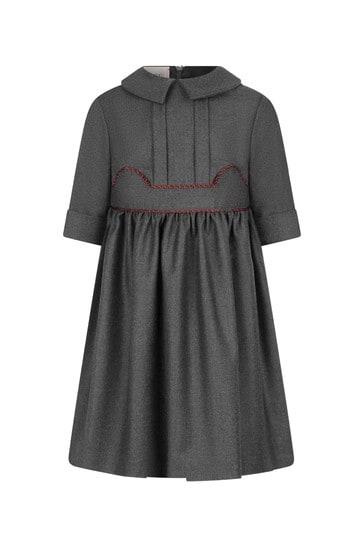 Girls Grey Flannel Dress