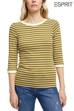 Esprit Green Long Sleeved Womens T-Shirt With Stripes