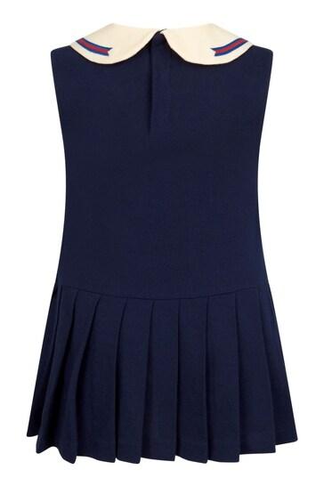 Girls Navy Cotton Dress