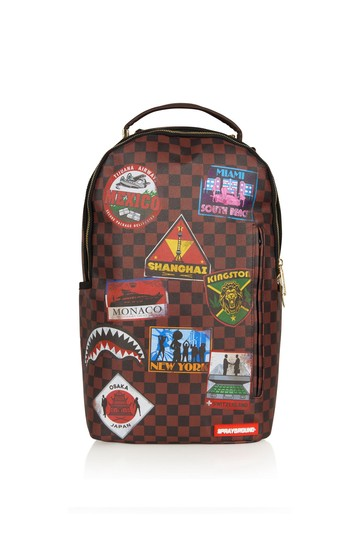 Kids Brown Travel Patches Backpack