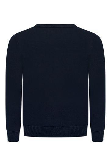Boys Navy Wool Logo Jumper
